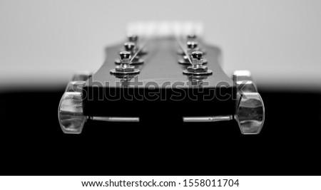 Muzical Balance.Guitar black and white Imagine de stoc ©