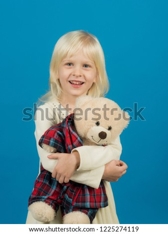 My best friend. Little girl with teddy bear. Small girl hold toy bear. Little child with soft toy. Small kid happy smiling. Happy childhood. My favorite childhood toy.