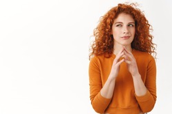 My evil plan is perfect. Hideous gorgeous redhead female scheming something, steeple fingers, squinting cunning and smirk, made-up good idea, thinking, pondering choices, stand white background