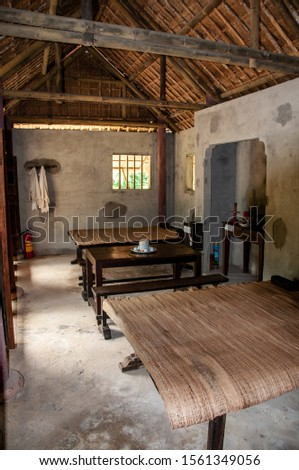 MY LAI, VIETNAM - NOV 22, 2013: the interiors of some houses in the village of My Lai have been restored to understand how they were before the 1968 massacre, My Lai, Vietnam, on Nov 22, 2013. #1561349056