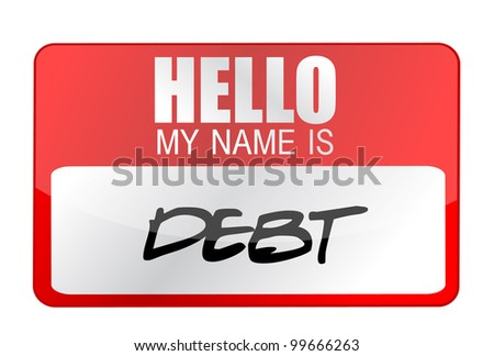 my name is DEBT name tag illustration design