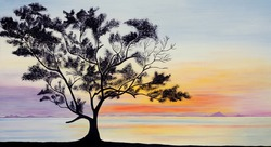 My Original painting: Beautiful sky and a tree silhouette on sunset