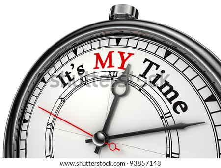 my time concept clock closeup isolated on white background with red and black words