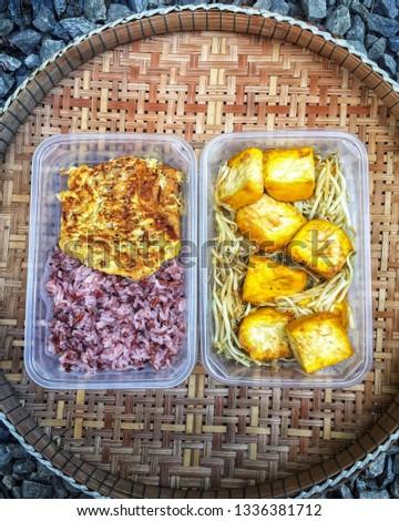 My vegetarian menu - stir fried bean sprout with tofu, omelet with homemade vegetarian fermented mushroom&riceberries sausages,riceberries