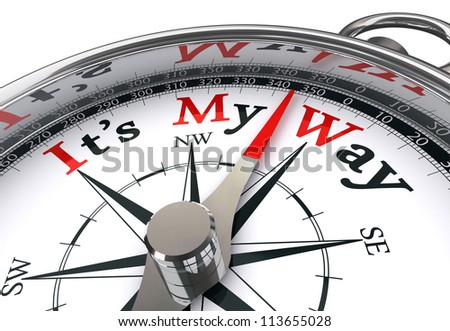 my way red word indicated by compass conceptual image on white background