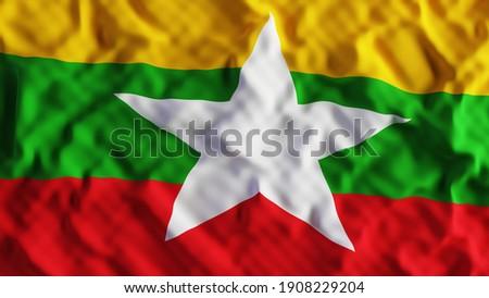 Myanmar flag, Burma. 3d rendering illustration crumpled Сток-фото ©