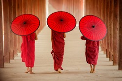Myanmar Novice monk walking together in ancient pagoda Bagan Mandalay The Buddhism the best in Asia and a culture faith of people in Burma. And landmark of tourism in Asian.