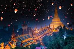 Myanmar view of Shwedagon Pagoda a night, Shwedagon pagoda with larntern, Yangon, Myanmar.