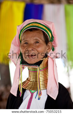 MYINKABA - JANUARY 05: A Padaung tribe woman poses for a portrait on January 05, 2011 in Myinkaba Village, Bagan, Myanmar.