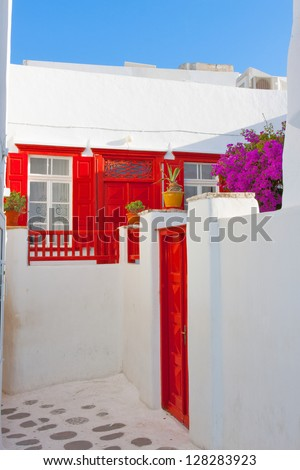 Mykonos Greece, Narrow street dead end in main capitol