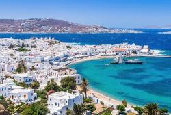 Mykonos, Greece. Panoramic view of Mykonos town, Cyclades islands.