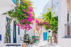 Mykonos, Greece. The narrow streets of Mykonos town.