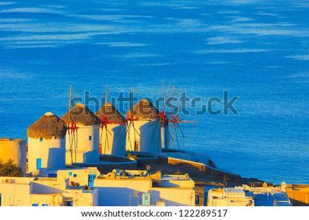 Mykonos windmils from far away, Mykonos island Greece Cyclades - stock photo