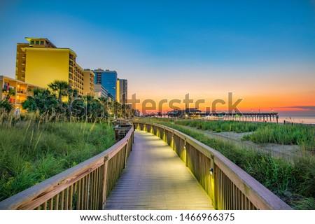 Myrtle Beach South Carolina SC Boardwalk Sunrise.