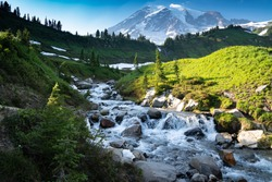 Myrtle Falls in Mount Rainier National Park in Washington State