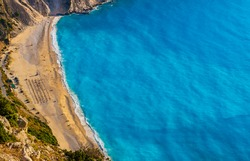 Myrtos beach in Kefalonia island in Greece