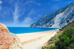 Myrtos beach, Kefalonia island, Greece. Beautiful view of Myrtos bay and beach on Kefalonia island