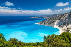 Myrtos Beach, Kefalonia Island. Sights of the Kefalonia Island. The best beaches in the world and the Mediterranean. The best beaches of Greece and the Ionian Sea.