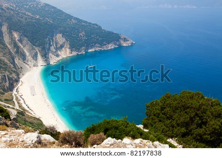 Myrtos beach on Greek island of Kefalonia