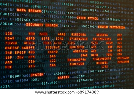 mysql on word on screen binary code display,cyber attack database security concept,3D illustration