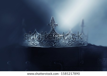 mysterious and magical photo of of beautiful queen/king crown over gothic snowy dark background. Medieval period concept