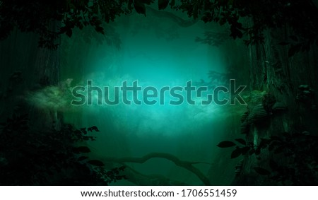 Mysterious blue smoke in fantasy forest. Old trees, crooked branches and foliage silhouettes. Mystical atmosphere in fairy tale background woodland Photo stock ©
