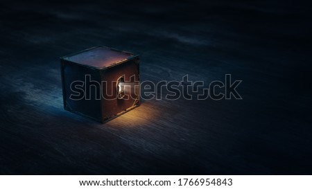 mysterious box with keyhole on a dark background. (3D Rendering, illustration) Photo stock ©
