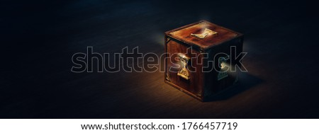mysterious box with keyholes on a dark background. (3D Rendering, illustration) Сток-фото ©