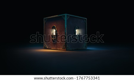 mysterious box with keyholes on a dark background. (3D Rendering, illustration) Photo stock ©