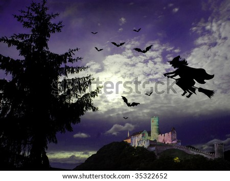 Mysterious dark scene with flying witch, castle ruin, bats and big tree in moonlight