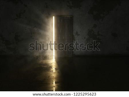 Mysterious door in dark room (3D Rendering)