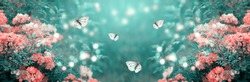 Mysterious fairytale spring or summer fantasy floral meadow banner with blooming rose flowers and flying butterflies on blurred beautiful background toned in soft pastel colors and shiny glowing bokeh