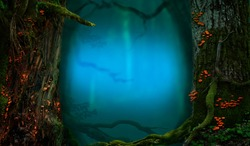 Mysterious forest with mossy trees and blue misty glow. Red mushrooms on the trunks with crooked branches. Fantasy woodland background