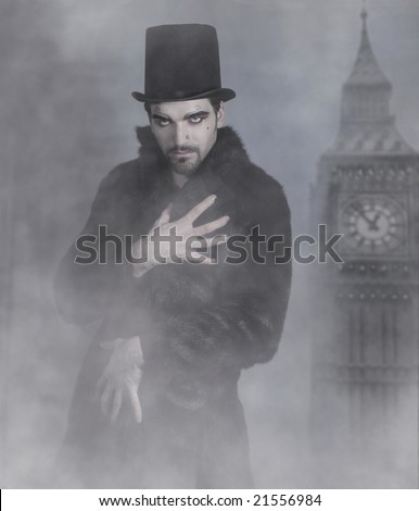 Mysterious good looking man in fur coat and top hat surrounded by fog