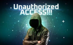 Mysterious hacker with Unauthorized ACCESS!!! inscription, online attack concept inscription, online security concept
