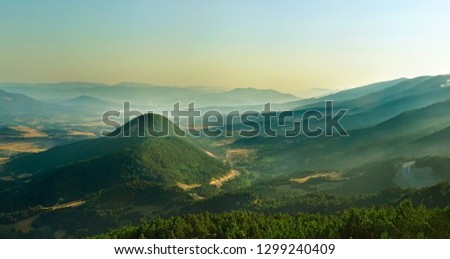 Mysterious hazy serene magic landscapes, the scenery, trip to foggy mountains