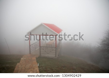 Mysterious house in the forest with fog and a tree. The old spooky house on the land of nowhere. Winter Landscape #1304902429