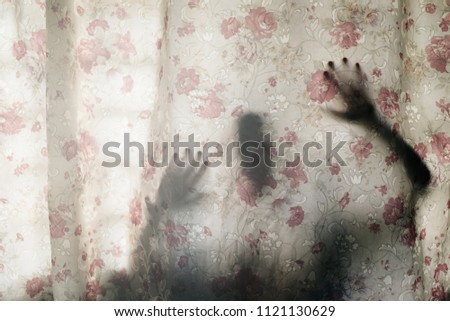 Mysterious human shadow behind a curtain. fear, Mystery, scary, creepy and paranormal concept #1121130629