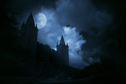 Mysterious medieval castle in a misty full moon. Added some digital noise.