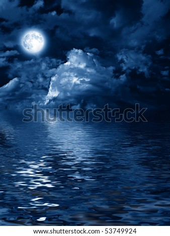 mysterious moon with nightly clouds over the water - stock photo