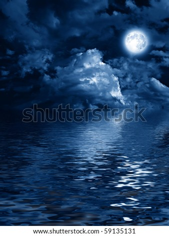 mysterious moon with nightly clouds over the water