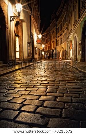 stock photo mysterious narrow alley with lanterns in prague at night 78215572 - Каталог — Фотообои «Улицы, переулки»
