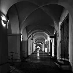 mysterious narrow archway in Prague at night
