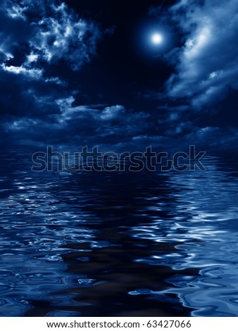 mysterious nightly clouds over the water