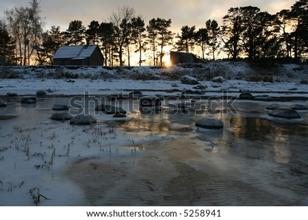 Mysterious non-urban winter scene from Latvia, Baltic states - stock photo