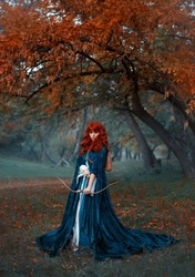 mysterious red-haired warrior girl stands. Lady elven princess holds bow and arrow. Long medieval dress Blue cloak cape. attractive woman archer in misty autumn forest alone gothic style cool colors