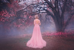 Mysterious silhouette princess. young blonde woman queen turned away. backdrop autumn nature mystic blue fog pink full bloom fairy tree black trunk. spring pink long elegant vintage dress bare back