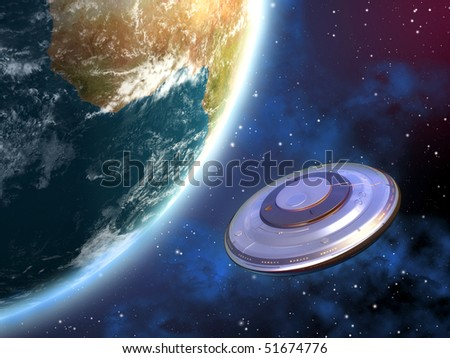 Mysterious spaceship orbiting planet Earth. Digital illustration