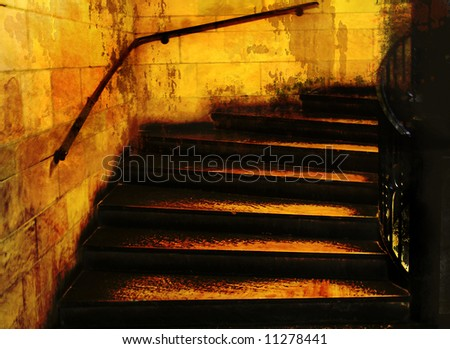 Mysterious stairway in gold and black; mixed medium with grunge texture
