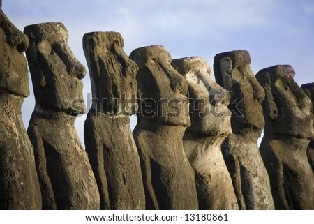 mysterious statues at easter island